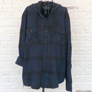 Men's American Rag Plaid Hooded Button-Up